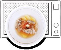 豚こまとじゃがいものキムチスープ作り方 煮汁と具をレンジで加熱