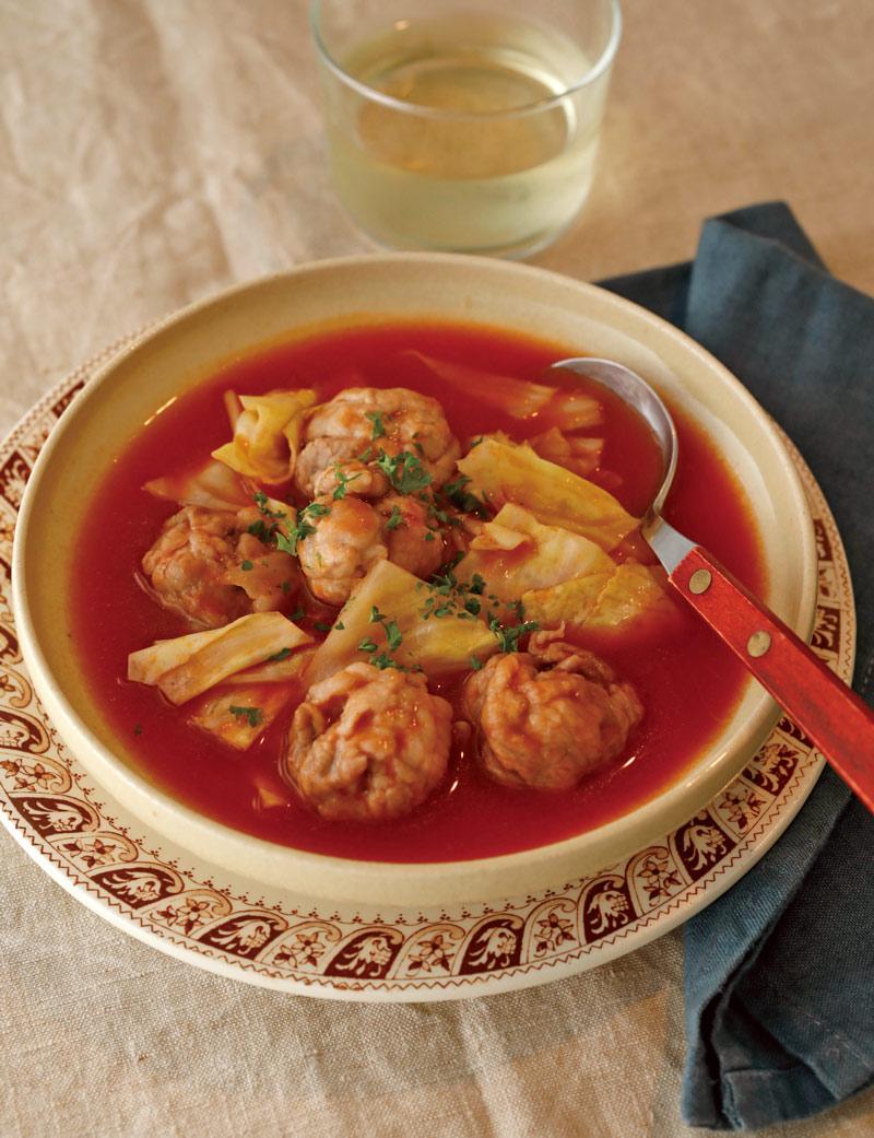 豚こまとキャベツのトマトスープ