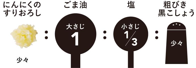 ナムルのたれの黄金比率は、にんにくの すりおろし少々:ごま油大さじ1:塩小さじ1/3、粗挽き黒こしょう少々