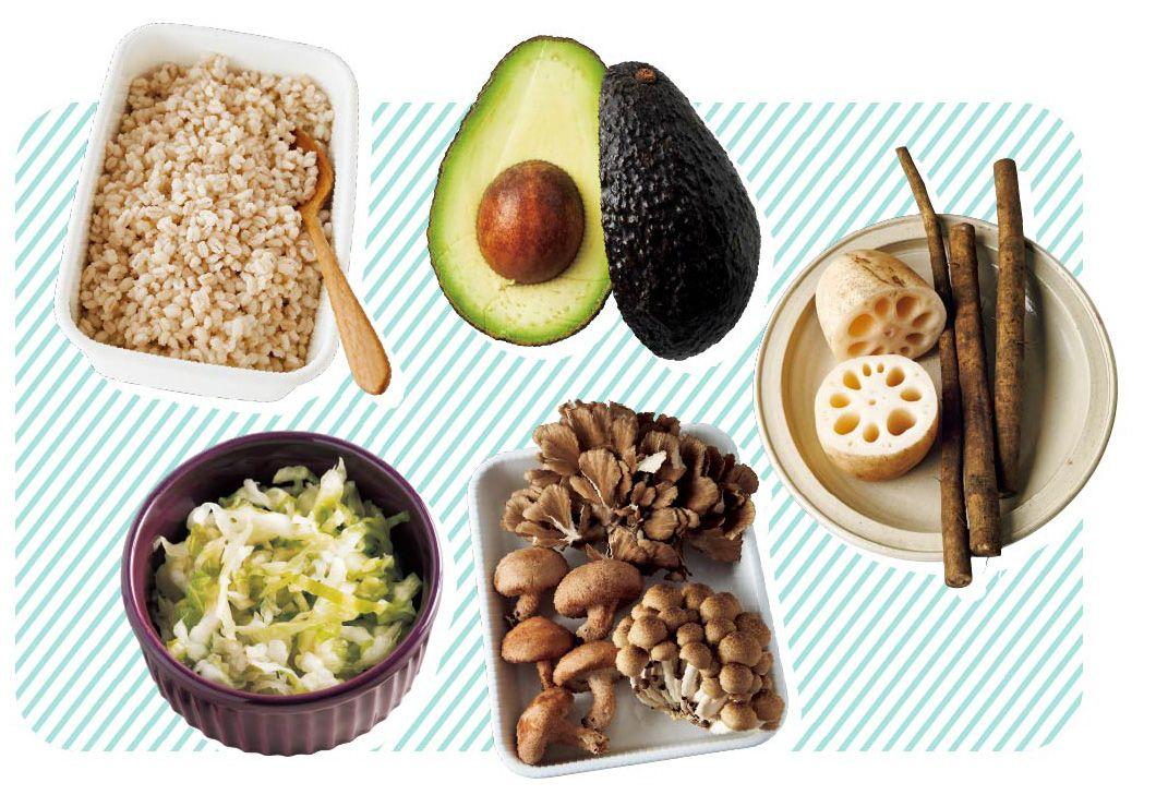 水溶性食物繊維豊富な食材、もち麦・アボカド・れんこん・ごぼう・キャベツ・きのこ