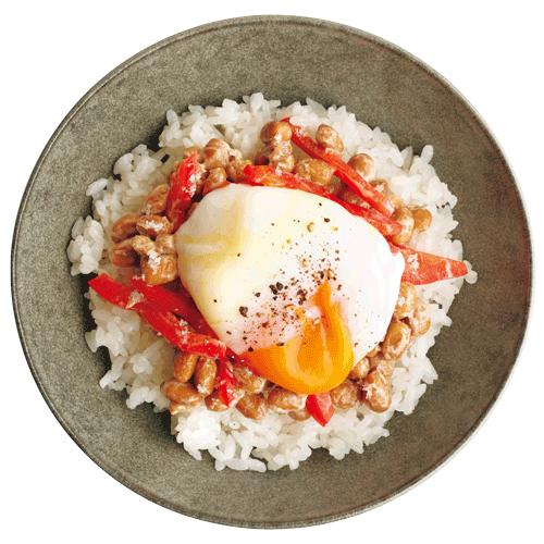 パプリカ+卵の納豆ご飯