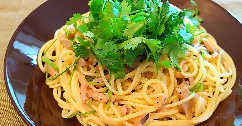塩辛のガーリックバタースパゲティ
