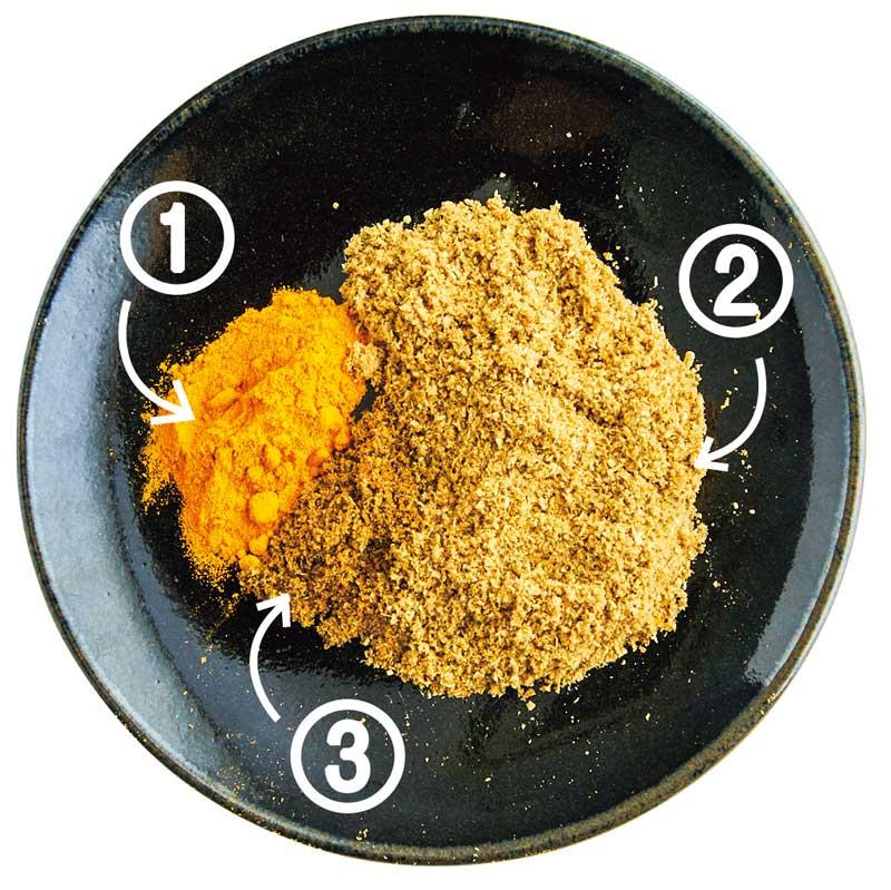 サグエッグキーマカレーに使用するスパイス(コリアンダー・ターメリック・ガラムマサラ)