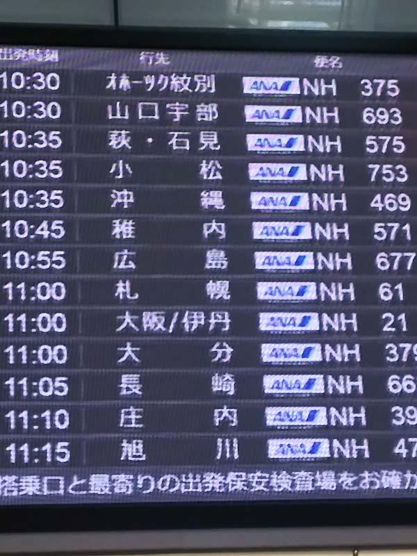 飛行機の発着表示