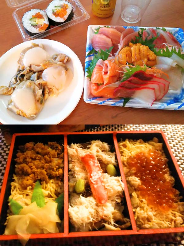 北海道で食べた刺し身盛り合わせや海鮮弁当