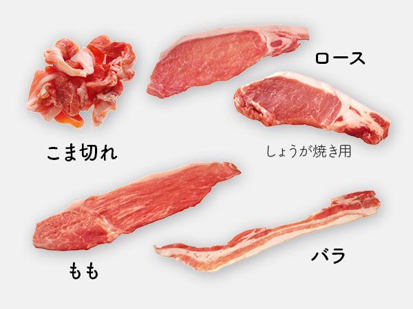 豚こま切れ肉、豚ロース肉、豚もも肉、豚バラ肉